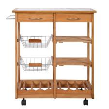 Wine Rack Kitchen Island by Amazon Com Rolling Wood Kitchen Trolley Cart Countertop Dining