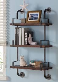 trent austin design industrial walnut wood floating wall shelf