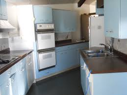 Geneva Metal Kitchen Cabinets St Charles Metal Cabinets Full Kitchen Blue U0026 White In Color
