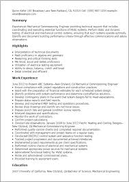 Examples Of Hvac Resumes professional mechanical commissioning engineer templates to