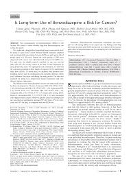 is long term use of benzodiazepine a risk for cancer pdf