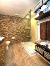 stone wall bathroom natural pebble stole wall tile glass door on