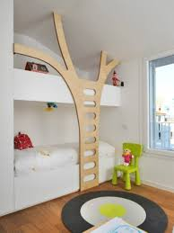 bedroom playful room decor for kids with tree modern bunk bed
