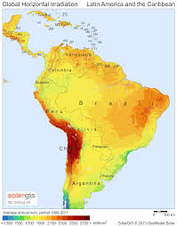 Centro America Map by Average Daily Solar Insolation Sun Hours Map Caribbean Central