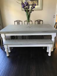 custom built solid wood modern farmhouse dining furniture 7 l x farmhouse table with light grey base and distressed dark grey top matching bench for more seating