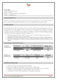 Chief Accountant Resume Sample Resume Samples For Chartered Accountants In India Templates