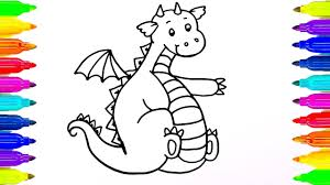 how to draw dragon coloring pages learn colors for kid youtube