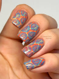 neon on double stamping nail art design the happy sloths