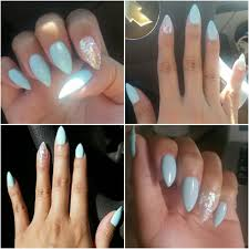gel manicure stiletto nails with chunky glitter these are my