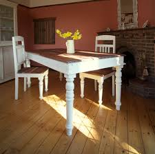 rustic old long trestle dining table painted with white chalk