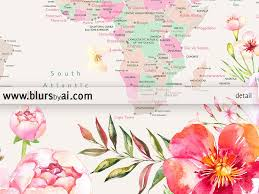 Somalia World Map by Printable World Map With Cities Pastel Florals Large 36x24