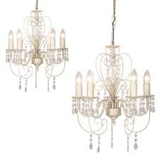 White Shabby Chic Chandelier by 2 X Distressed White Shabby Chic 5 Way Ceiling Light Chandeliers