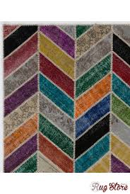 Multicolor Rug Cm 6x8 Ft Multicolor Patchwork Rug Chevron Design Handmade