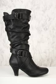 high heel motorcycle boots black ruched chunky heel boots faux leather