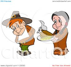 pilgrims on thanksgiving cartoon of a native american woman serving a pilgrim thanksgiving