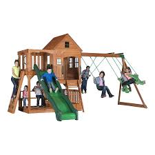Cedar Playsets Shop Backyard Discovery Pacific View Residential Wood Playset With