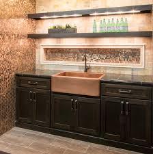 natural metallic tone bar backsplash tile brushed copper rounds
