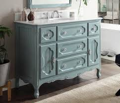 Inch Antique Cottage Bathroom Vanity Antique Blue Finish White - 48 bathroom vanity antique white