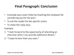 Closing Sentence For Resume Cover Letter Endings