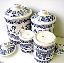 Vintage Kitchen Canister Set Vintage Blue Willow China Canister Set Blue And White Ironstone
