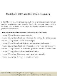 sales assistant resume template top8hotelsalesassistantresumesamples 150517002427 lva1 app6891 thumbnail 4 jpg cb 1431822320