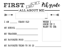 Eighth Grade Worksheets First Day Of All About Me Sign Paper Trail Design