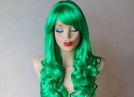 green halloween wig green white halloween wig wig ponytail