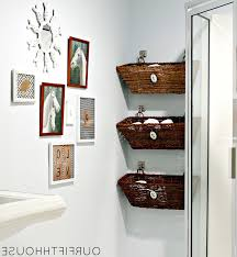 creative bathroom storage with basket design for sweet look