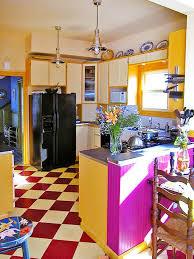 kitchen style eclectic kitchen design yellow pink kitchen cabinet
