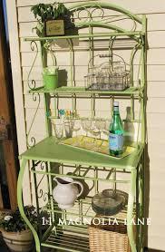 Spray Painting Metal Patio Furniture - outdoor entertaining shelf from bakers rack repurpose spray