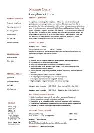 Objectives For Resumes Examples by Compliance Officer Resume Objective Sample Example Regulations