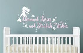 ocean wall decal etsy mermaid wall decal kisses starfish wishes vinyl lettering nursery decals
