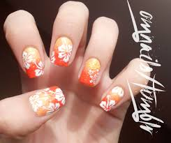 hawaiian flower nails nail art pinterest hawaiian flower