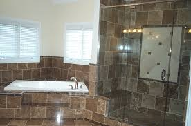 white brown tiles wall themes shower room with glazed shower areas
