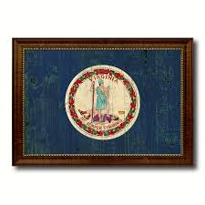 virginia state vintage flag canvas with black print picture frame