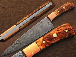 amazon com custom made damascus steel chef knife olive wood