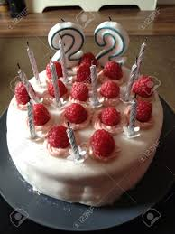 vegan chocolate raspberry birthday cake stock photo picture