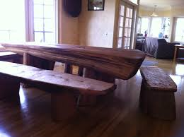 red cedar driftwood dining table with benches zack leck studio