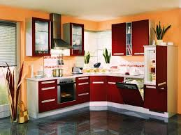 two tone painted kitchen cabinets contemporary style with red