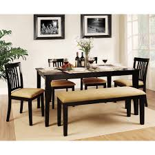 weston home tibalt 7 piece rectangle black dining table set 60