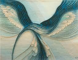 Kubinyi Anna - Kék madár (textil falikép)