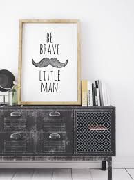 Be Brave Little Man Printable Mustache Large Boys Room Nursery