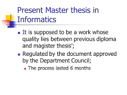 Revised principles of Master thesis at Department of Mathematics     SlidePlayer Present Master thesis in Informatics It is supposed to be a work whose quality lies between