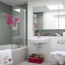 Pink Tile Bathroom Ideas Colors Colors For Bathrooms With Pink Butterfly Mural On Glass Wall