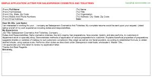 Salesperson Cosmetics And Toiletries Job Title