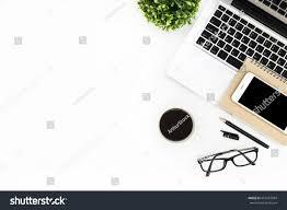 Modern White Office Desks Modern White Office Desk Table Laptop Stock Photo 457687084