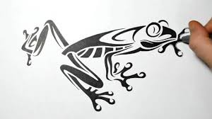 drawing a tree frog tribal tattoo design style youtube
