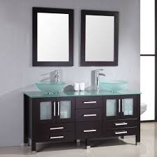 Cambridge  Inch Glass Double Vessel Sink With Glass Counter Top - Black bathroom vanity with vessel sink