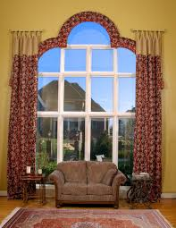 brown patterned curtain for arched window treatment decofurnish