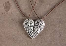 personalized owl pair necklace best friends necklace heart